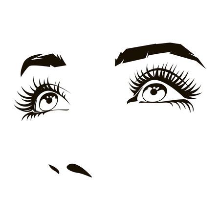 Cara de la mujer hermosa con los ojos expresivos femeninos. la expresión de la belleza, retrato de dama. ilustración vectorial