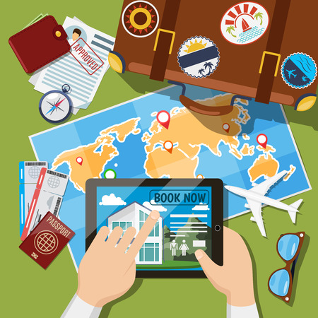 plane tickets: Planning summer vacation or leisure trip planning concept. Suitcase, map and plane tickets top view. Travel tourism illustration