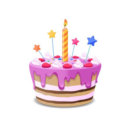 cream pie: Birthday cake vector. Sweet cream pie with candles on white vackground vector illustration