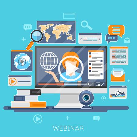 educativo: Webinar concepto. La educación en línea, e-formación, el aprendizaje de Internet, seminario web ilustración vectorial