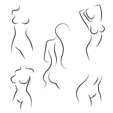 Vrouwelijke lichaamssilhouetten voor hygiëne, gezondheid en lichaamsverzorging