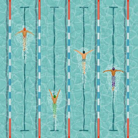 Les nageurs dans la piscine illustration vectorielle