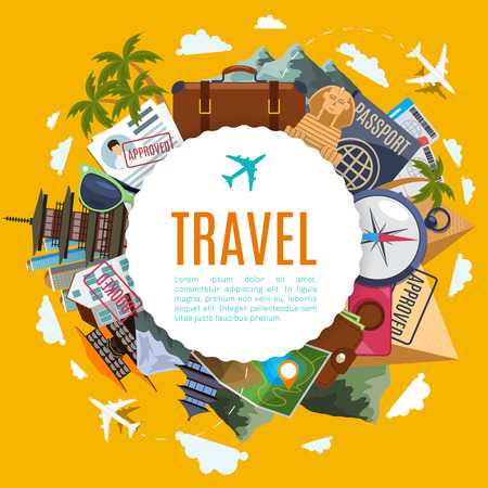 Travel and tourism label with attractions on yellow background. Egypt and Japan, suitcase, map and visa vector vacation concept