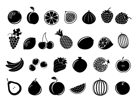 lemon fruit: Black fruit icons. Set of fruit in monochrome style and tropical fruits of lemon and banana. Vector illustration