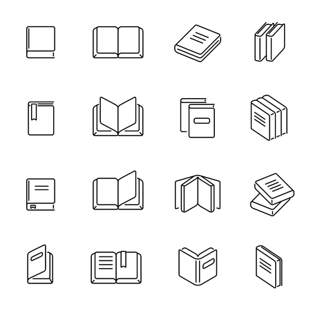literature: Books thin line icons vector. Book education signs, textbook literature linear symbols illustration Illustration