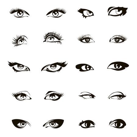 Woman eye set vector. Beautiful female ink drawing eyes set. Girl eyelash makeup illustration
