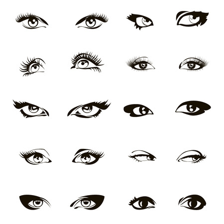Woman eye set vector. Beautiful female ink drawing eyes set. Girl eyelash makeup illustration