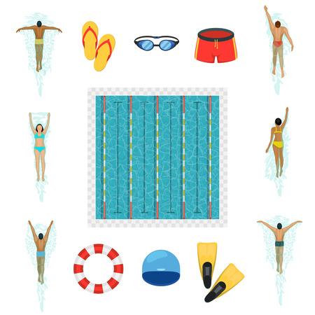 competencia: iconos planos actividad de natación. Los nadadores y piscina, gafas, traje de baño, las aletas y la boya de vida, ilustración vectorial