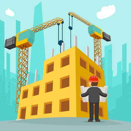 house construction: Building construction 3d isometric concept. Building house cartoon vector illustration