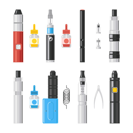 vaporized: Vaping flat icons. E-cigarette vipe colored pictograms, vaporizer cigarette and vaporizer electronic smoke signs. Vector illustration