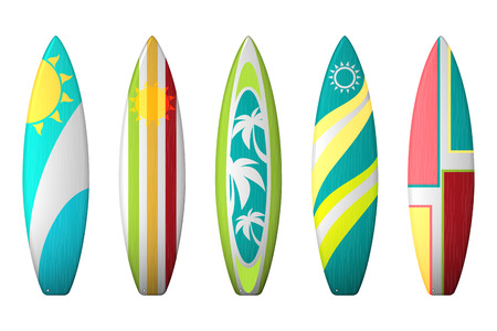 Surf boards designs. Vector surfboard coloring set. Realistic surfboard for extreme swimming, illustration set of surf board with color pattern