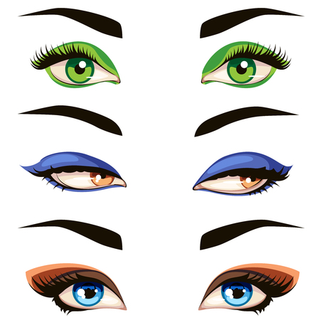 Color female eye set. Vector hand drawn colored woman eyes illustration