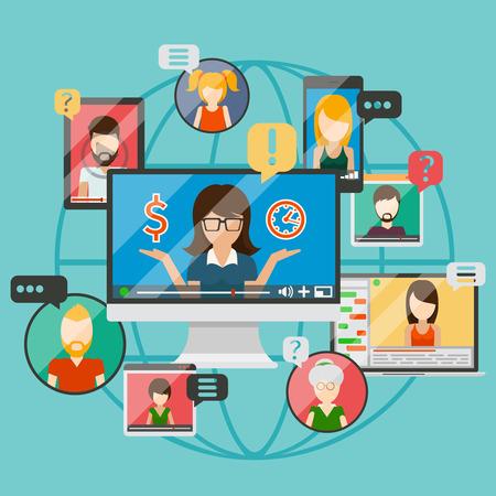 Web conference concept or online internet business communication, web training. Vector illustration