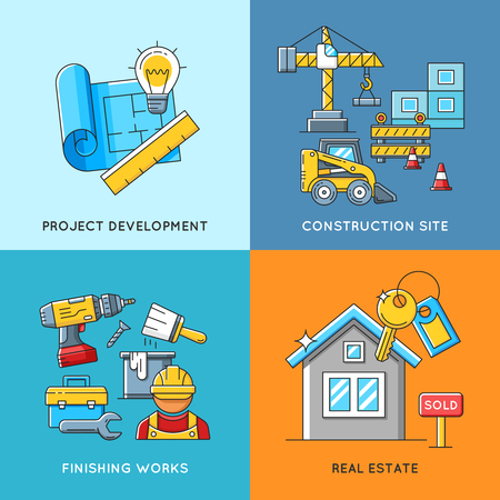 estate planning: Building concepts. Engineering and construction, finishing works and real estate housing. Construction building architecture and business construction. Vector illustration