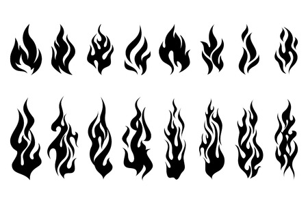 Fire tattoo vector. Fire flames tattoo set. Illustration monochrome flame Vectores