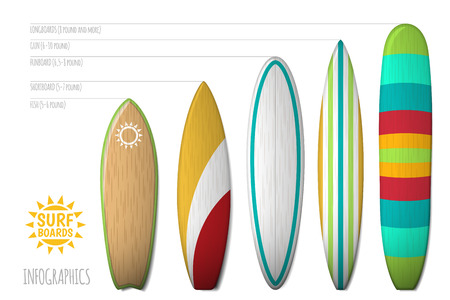 surfboards: Surfboards types. Vector surfboards for infographics and posters illustration