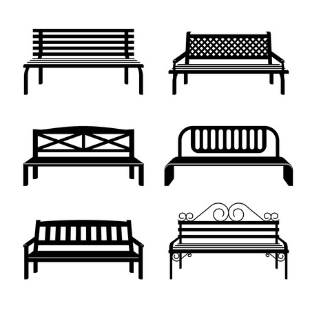 metal frame: Vector benches. Benches black silhouettes. Bench street for city park, set of monochrome urban benches