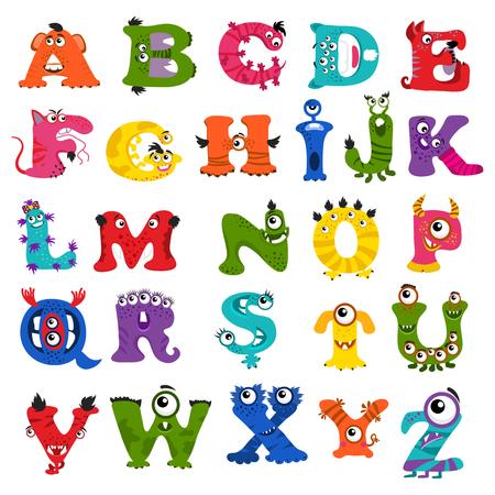 Zabawna wektor potwora alfabetu dla dzieci. Potwór pismo znak i ilustracji abc potworem