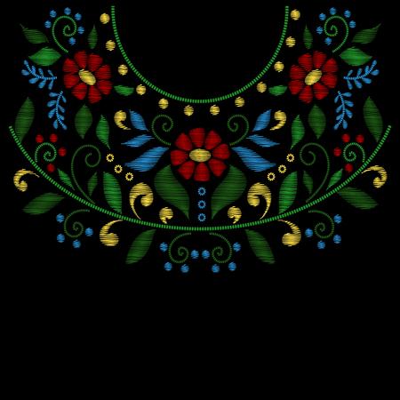 broderie: Fleur ligne de broderie cou conçoit vecteur. Broderie style de la mode et la décoration broderie avec des fleurs illustration