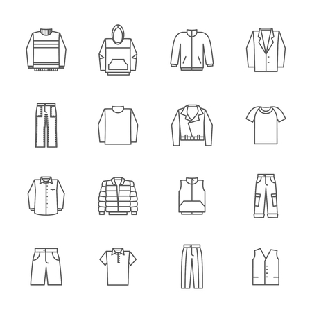 Men clothing icons in thin line style vector. Fashion clothing for man, shirt pants and sweater clothing illustration