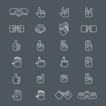 pinkie: Business handshake and other hands gestures in thin line style. Gesture hand for communication, sign of well with use human hands. Vector illustration Illustration