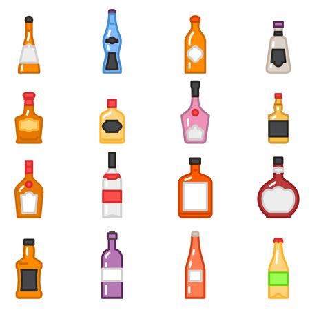 bebida: Frascos do álcool ícones no plano vector estilo de linha. Jogo das alcoólico bebida cerveja tequila e vodka, ilustração de álcool para o menu