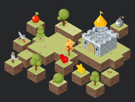 gamer: Isometric 3D game play scene vector. Scene for game and illustration isometric landscape for video game
