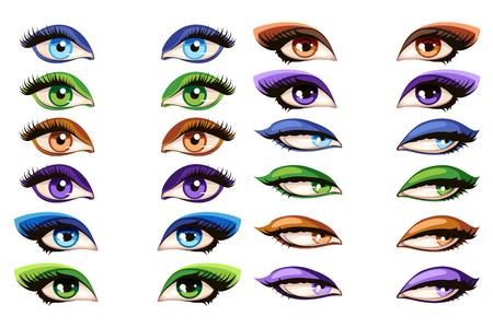 glamour makeup: Female eyes vector. Makeup mascara glamour eye set illustration