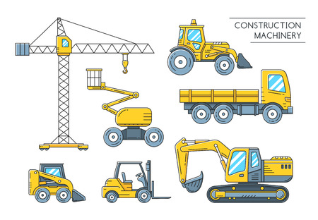 heavy construction: Heavy construction transport outline icons. Construction machinery flat line art collection. Vector illustration Illustration