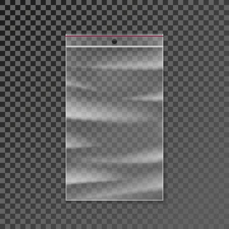 cremallera bolsa de plástico transparente. paquetes y cremallera embalaje del bolso de la cremallera maqueta limpia aislada en el fondo. ilustración vectorial