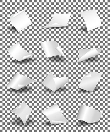 feuilles de papier vides sur fond transparent illustration vectorielle. La feuille de papier tordu et un ensemble de modèle de page de papier Vecteurs
