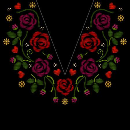 bordados: Cuello bordado línea con la ilustración del vector de flores de las rosas. Manera del bordado del follaje y el patrón con las ilustraciones de la flor del bordado Vectores