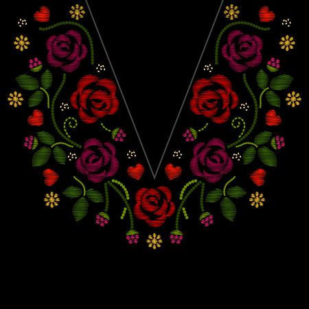 Neck line embroidery with roses flowers vector illustration. Foliage embroidery fashion and pattern with flower embroidery artwork