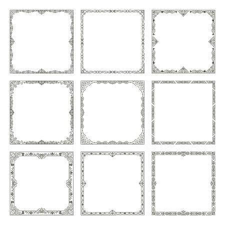 decorative frames: Decorative frames. Vector vintage frames and borders. Decoration ornamental frames illustration
