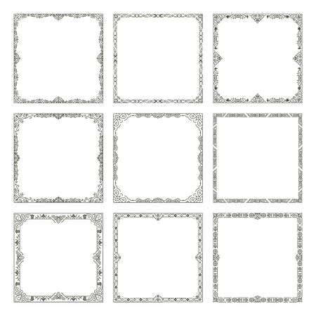 marcos decorativos: marcos decorativos. Vector de los marcos y fronteras de la vendimia. La decoración ornamental enmarca la ilustración