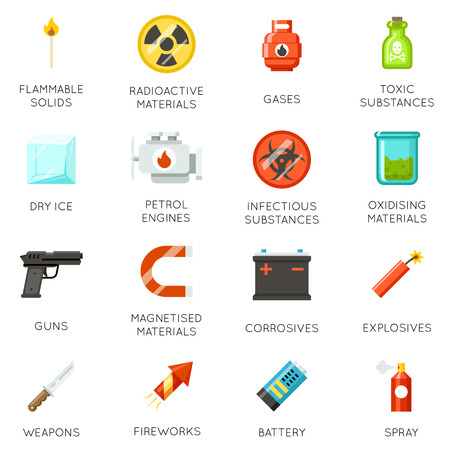 oxidising: Airport dangerous and prohibited luggage icons. Set of icon prohibited baggage. Vector sign ban materials in baggage illustration