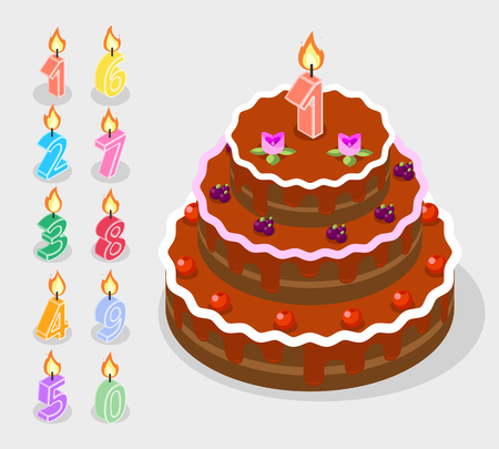 Birthday candles fire numbers 3d isometric. Vector birthday cake with candles on numbers illustration