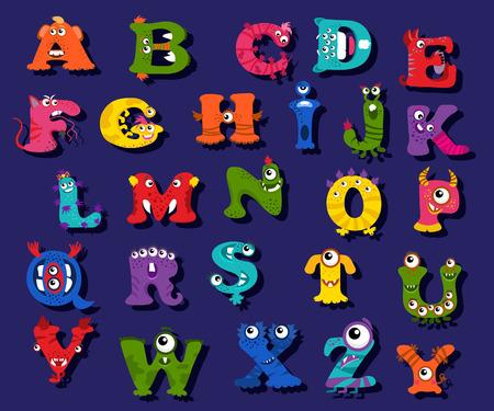 Vector children: Halloween bảng chữ cái vui nhộn dành cho trẻ em vector. Bảng chữ cái với những con quái vật và nhân vật bảng chữ cái hình minh họa cho đứa trẻ giáo dục