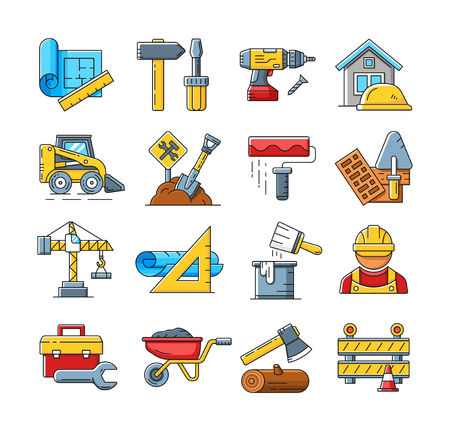 construction hat: Construction icons or home repair tools signs in flat outline style. Concept construction icons set and illustration of construction process