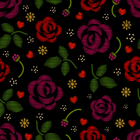 embroidery: Embroidery pattern with roses flowers. Floral embroidery background and pattern embroidery with rose. Vector illustration