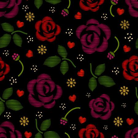 bordados: patrón de bordado con flores rosas. fondo bordado de flores y patrón de bordado con la rosa. ilustración vectorial
