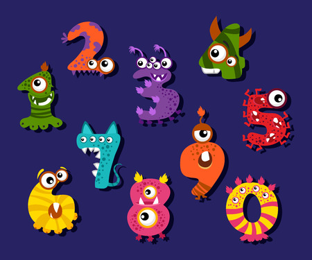 fantastic creature: Cartoon funny numbers or comic digits vector set. Creature monsters digits and illustration of mathematical fantastic digits