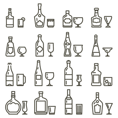 beverage menu: Alcohol beverages line art icons or alcoholic drinks thin line signs. Set of beverage martini wine and whiskey, menu with alcohol beverage. Vector illustration Illustration