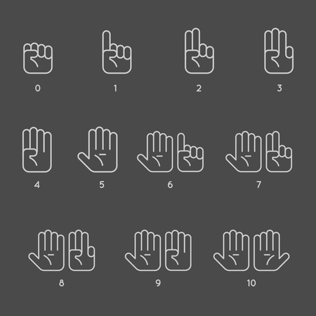 Counting hand signs in thin line style. One to five hands counting. Vector illustration