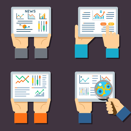 internet business: Stock exchange business technology. Internet trading and investment flat vector icons. Stock investment finance and illustration with data about stock exchange