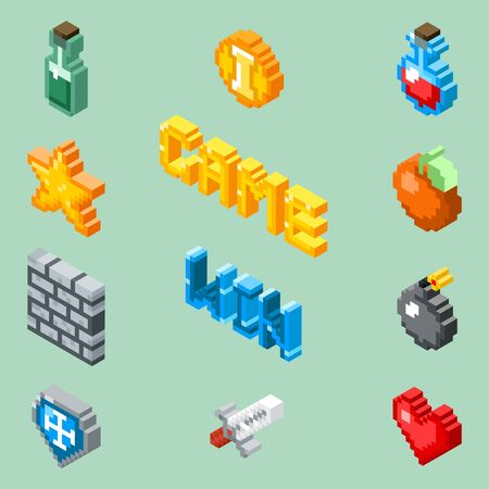 8 bit: Pixel art game icons. 8 bit isometric pictograms vector. Element for game in pixel style design, illustration star and pixel art bomb