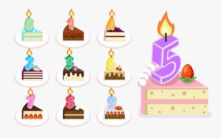 porcion de pastel: Vector pastel de cumpleaños con vela. pieza plana isométrica del conjunto de la torta con los números de la ilustración Vectores