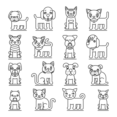 domestic cat: Pets line icons. Dogs and cats outline signs vector. Set of animal cat and dog, illustration pets dog and domestic cat Illustration