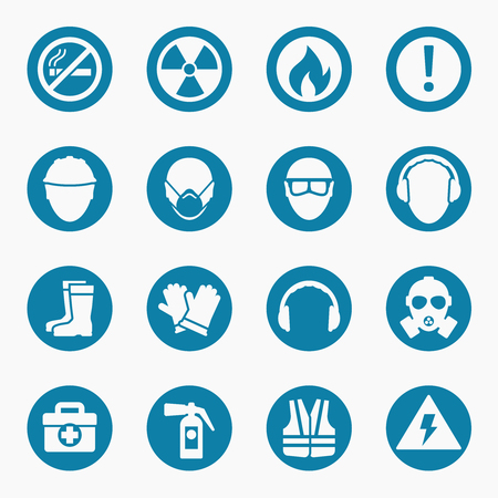 safety sign fire safety signs: Occupational health icons and occupational safety signs. Protective helmet goggles and footwear from radiation. Vector illustration