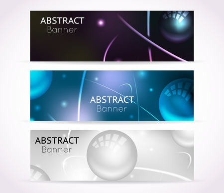 scientific: Nuclear atom banners. Nanotechnologies and physical technology banner backgrounds. Set of template banners with nuclear atom, illustration scientific banner for nuclear physic